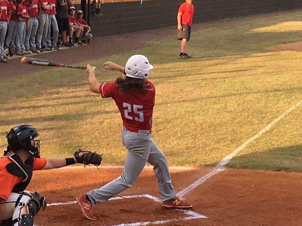 Ohatchee junior Jaylon Jenkins used his strong arms and hands to rip the first pitch he saw against Alexandria Tuesday night down the left field line for an RBI double.