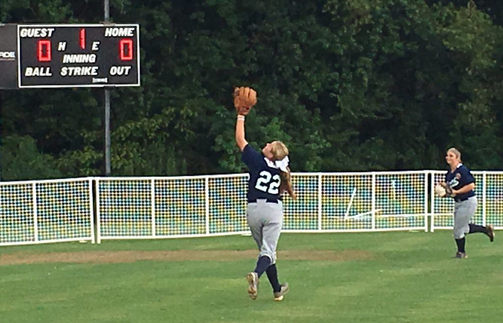 Oxford's Rylee Waldrep, shagging flies in pregame warmups, pitched the final two innings of the nightcap to secure the North's sweep.