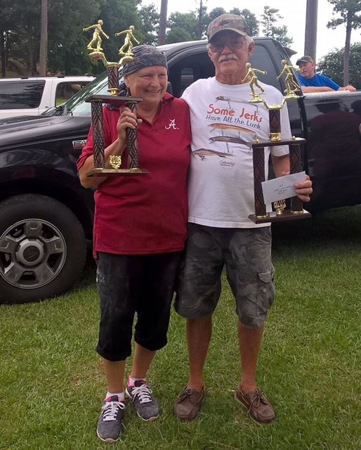 Don Mangum (R) and Joan Garrison after finishing third in the State Doubles Tournament. (Photos by Don Mangum)