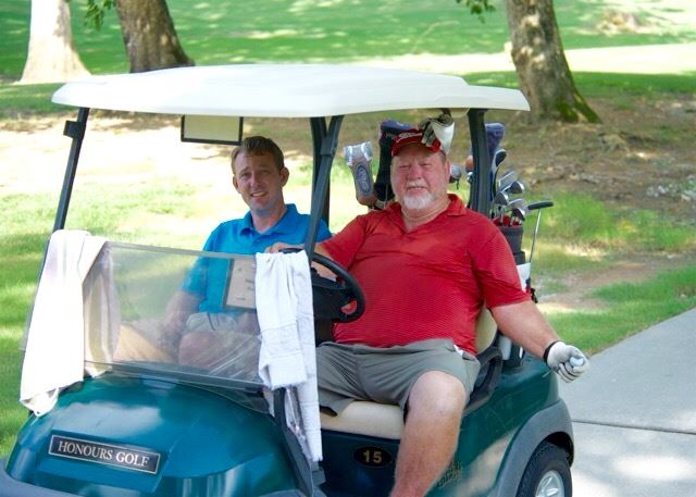 Stacy Williams (L) and Ted Martin shot 2-under-par 70 in the modified scramble round at Cider Ridge Friday. (Photo by B.J. Franklin/GungHo Photos)