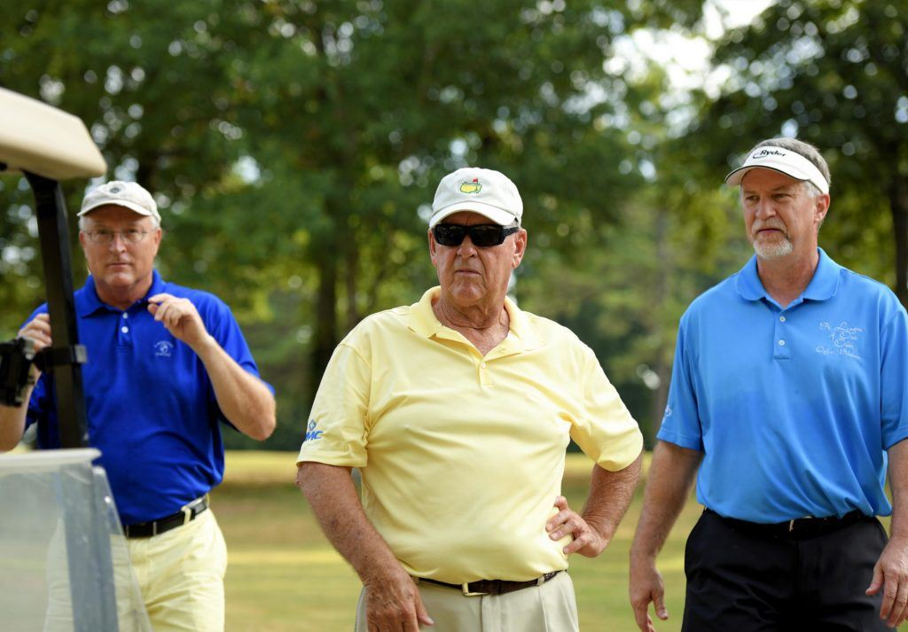 (From left) Brian Clifton, Billy Grizzard and David McFarland will play at Silver Lakes in Sunday's final round of the Sunny King Charity Classic. (Photo by Sandy Howell)