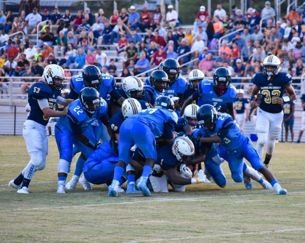 It took nine Barbour County defenders to bring down Randolph County's Trent Lane Friday night. The Tigers won 41-6. (Photo by Jeremy Wortham/Tiger Den Photography)