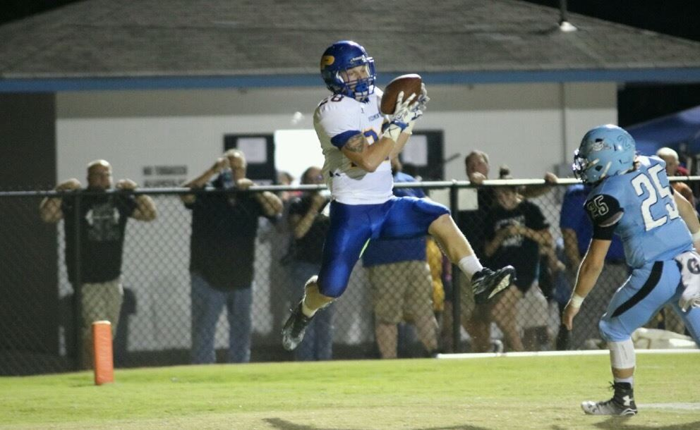 Piedmont's Austin Brazier (28) hauls in one of his two touchdown catches against Pleasant Valley. (Photo by Daniel Lee)