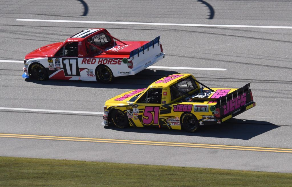 Timothy Peters (17) finished third and was one of the six drivers advancing to the next round of the Truck Series championship chase. Cody Coughlin (51) finished 31st.