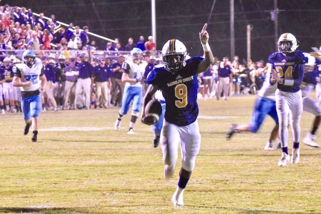 Randolph County's Dontavous Davenport sprints to the end with a pick-six in the Tigers' win over Pleasant Valley. With 9:11 left in the first half, Randolph County led 20-14 and shutout the Raiders the rest of the way. (Photo by Jeremy Wortham/Tiger Den Photography)