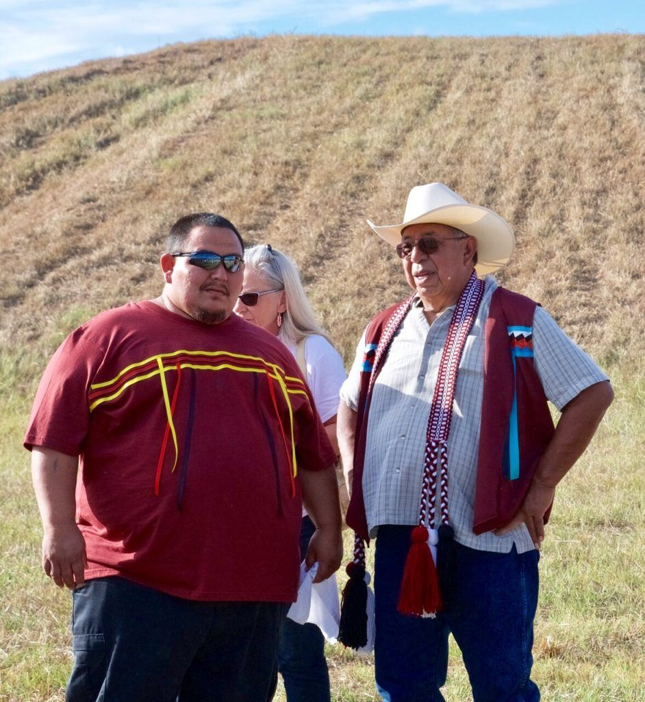 Arnold Taylor (R), representing the Abihka Ceremonial Ground, made a moving bi-lingual speech during the opening ceremonies of Choccolocco Park Sunday. (Photo by B.J. Franklin/GungHo Photos)