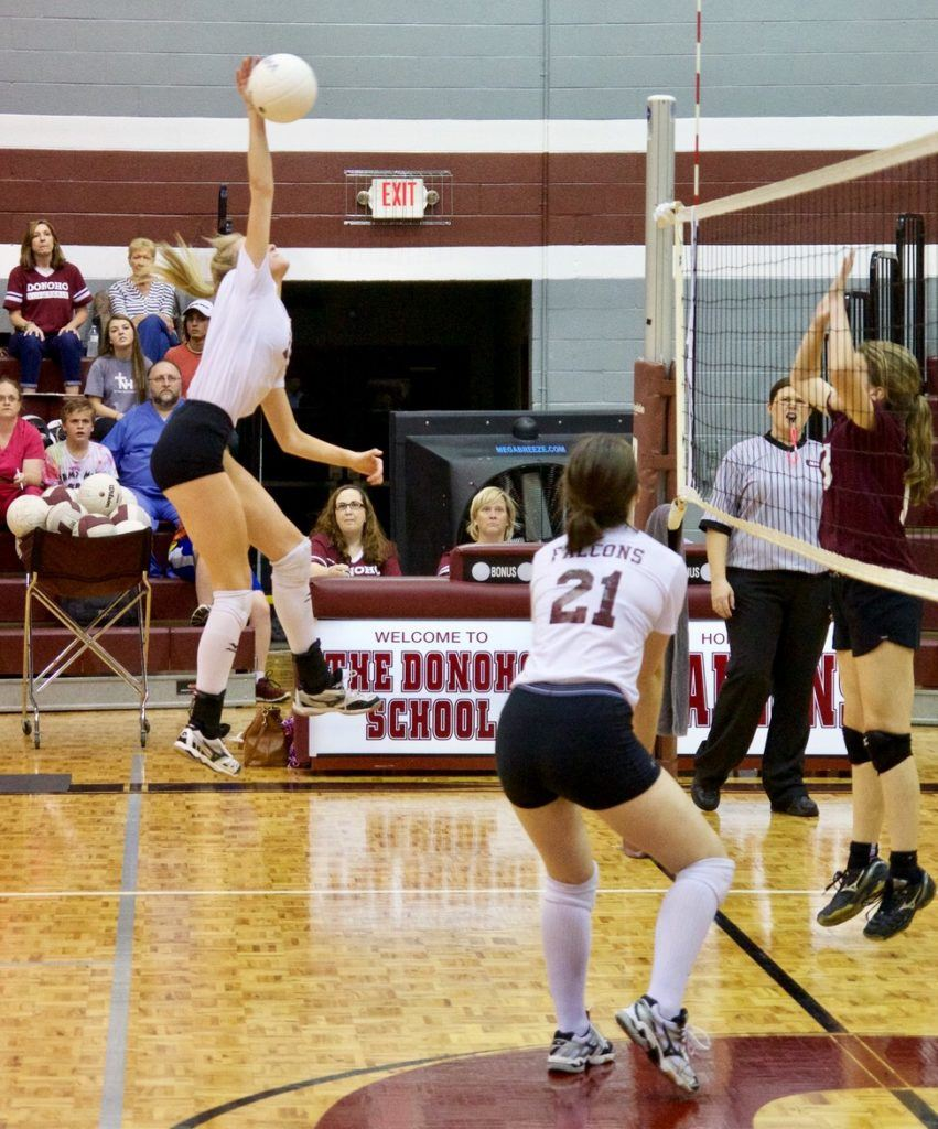 Madison Gaines gets way up to deliver a big hit that was her 1,000th career kill in Donoho's area championship match against Sacred Heart. On the cover, the Lady Falcons celebrate after the winning point falls. (All photos by B.J. Franklin/GungHo Photos)