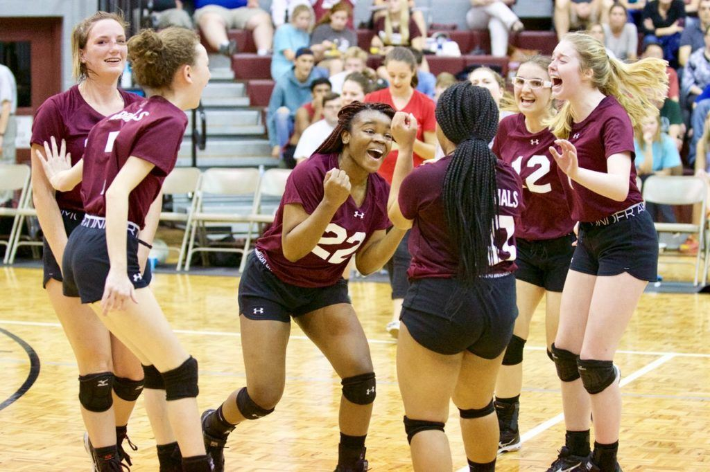Jumoke Sanusi (22) leads the celebration after Sacred Heart outlasted Faith Christian to earn a spot in the Class 1A regionals.