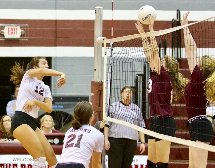 Peyton Suco (12) had eight kills in Donoho's area tournament title win over Sacred Heart.