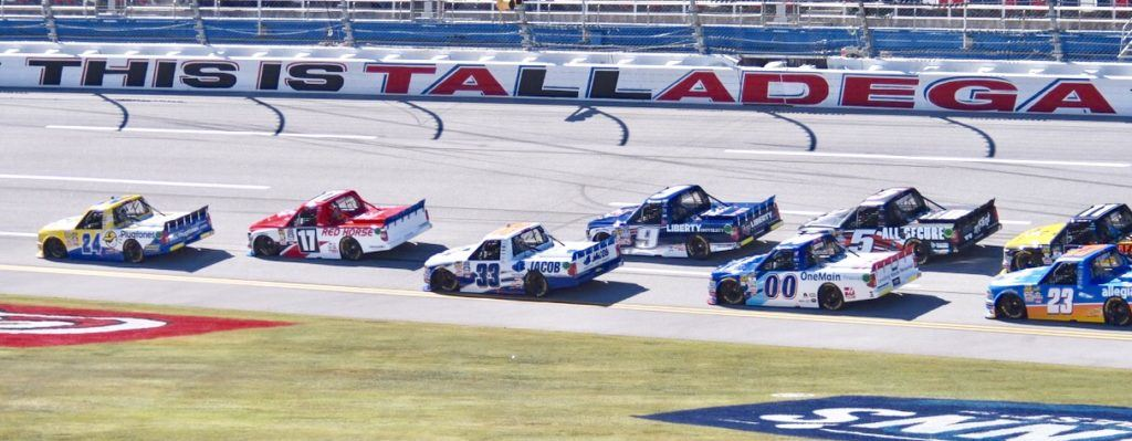 Grant Enfinger (24) rides comfortably out front on his way to winning the Fred's 250 at Talladega Superspeedway. (All photos by B.J. Franklin/GungHo Photos)
