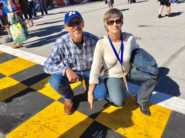Jeff and Joy Johnson of Kaufman, Texas, have been to the last three race weekends at Talladega. They have signed the start-finish line the same way every time.