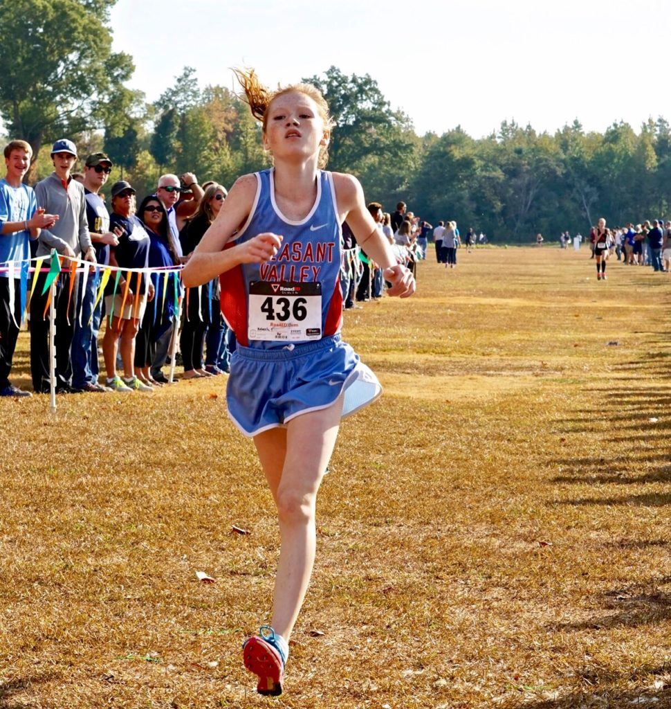 Pleasant Valley's Trinity Roberts wins the girls race in the Calhoun County Cross Country Championship.
