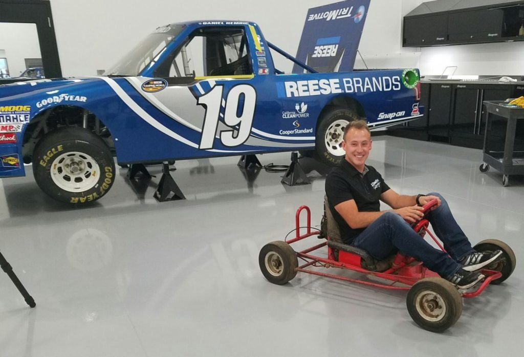 Truck Series contender Daniel Hemric squeezes into the go-cart that started it all for him at age 5.