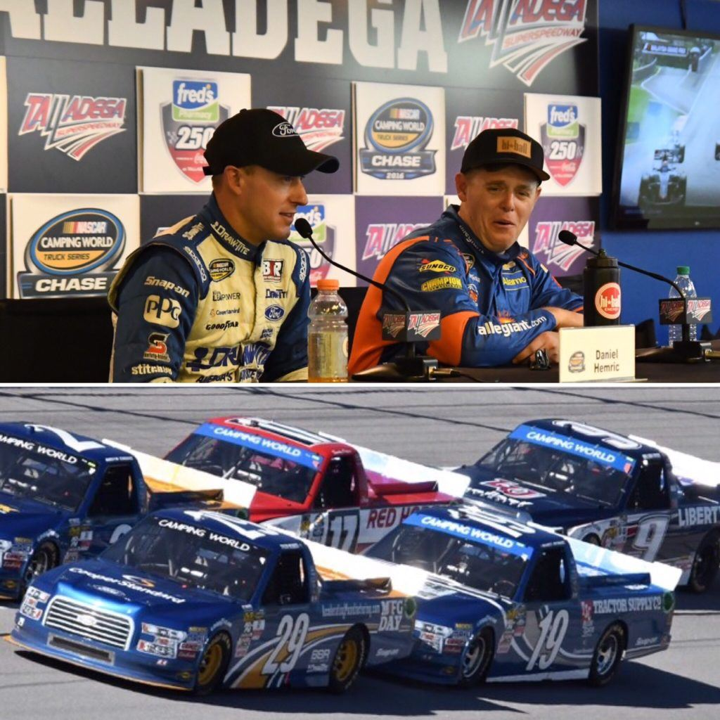 Daniel Hemric (top left) brought his Ford truck (19) through three incidents Saturday, but just fell short of advancing in the Truck Series Chase. (Photos by B.J. Franklin/GungHo Photos)