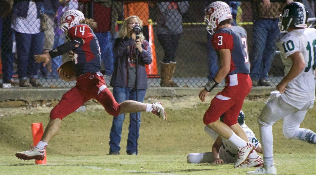 Ohatchee quarterback Taylor Eubanks steps inside the pylon to score one of his three touchdowns Friday night. Eubanks scored on two runs and a long fumble return. (Photo by B.J. Franklin/GungHo Photos)