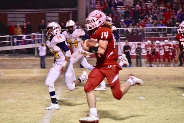 Ohatchee quarterback Taylor Eubanks (14) rebounded from a second-quarter fumble to score on two long touchdown runs in the second half. (Photos by Jeremy Wortham/Tiger Den Photography)