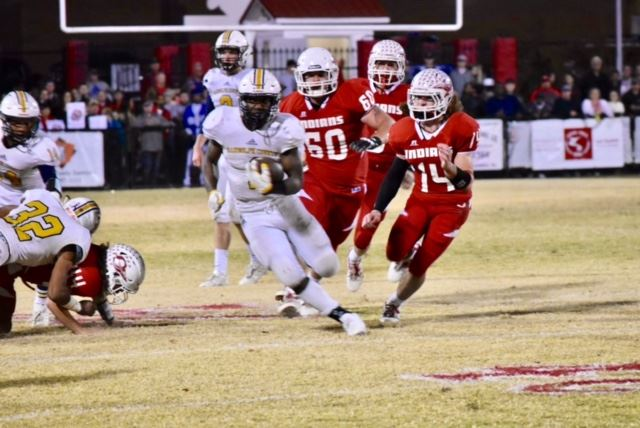 Randolph County's Trent Lane (1) is chased by three Ohatchee defenders Friday. (Photo by Jeremy Wortham/Tiger Den Photography)