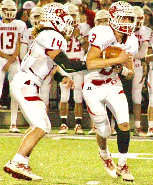 Taylor Eubanks (14) and Austin Tucker both scored two touchdowns for Ohatchee Friday night and each finished the season with 27 rushing touchdowns.