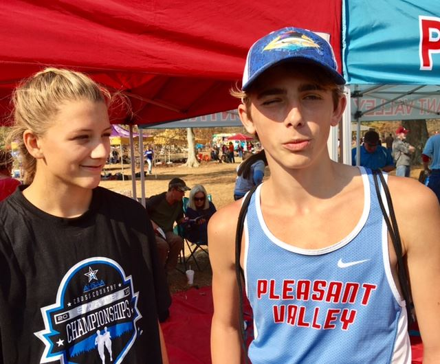 Bailey Dollar (L) and Skyler Mcleod came up with two of the biggest performances in Pleasant Valley's success at the state cross-country meet Saturday.