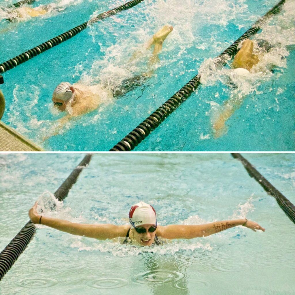 Donoho's Pitts Angell (top left) and Weaver's Lucia Balma bring home of their wins in Monday's Calhoun County Swimming Championships. (Photos by B.J. Franklin/GungHo Photos)