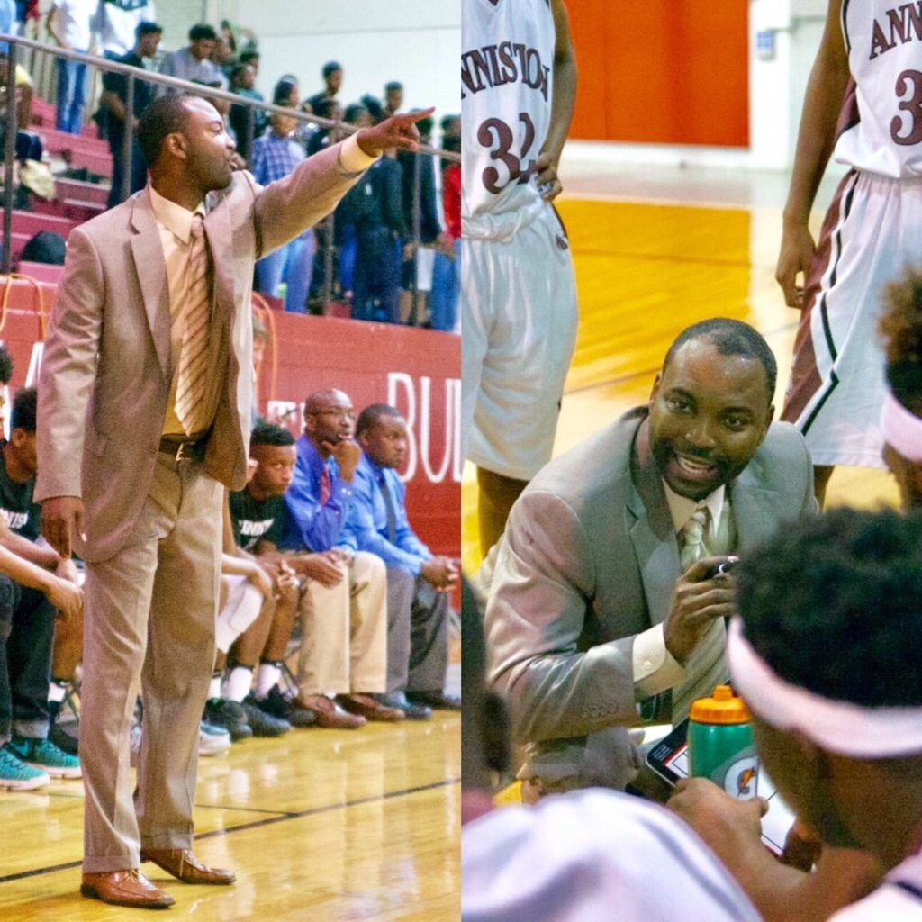New Anniston basketball coach Torry Brown relays instructions to his team from near (right) and afar during his debut with the Bulldogs Tuesday night. (Photos by B.J. Franklin/GungHo Photos).