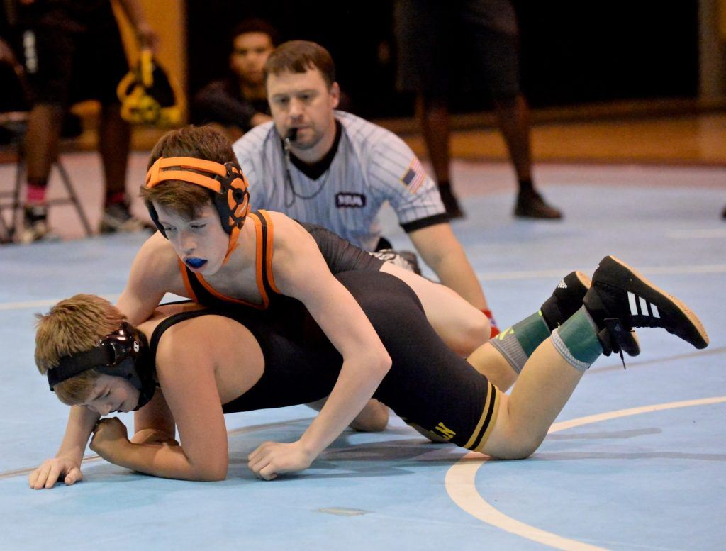 Alexandria seventh-grader Jaden New is ranked No. 1 in the state in 106 by Rank Wrestlers. (Photo by B.J. Franklin/GungHo Photos)