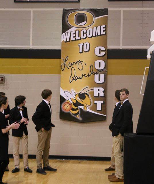 Oxford officials formally recognize the Oxford Sports Arena's playing floor as Larry Davidson Court. (Photos by Kristen Stringer/KrispPics Photography)