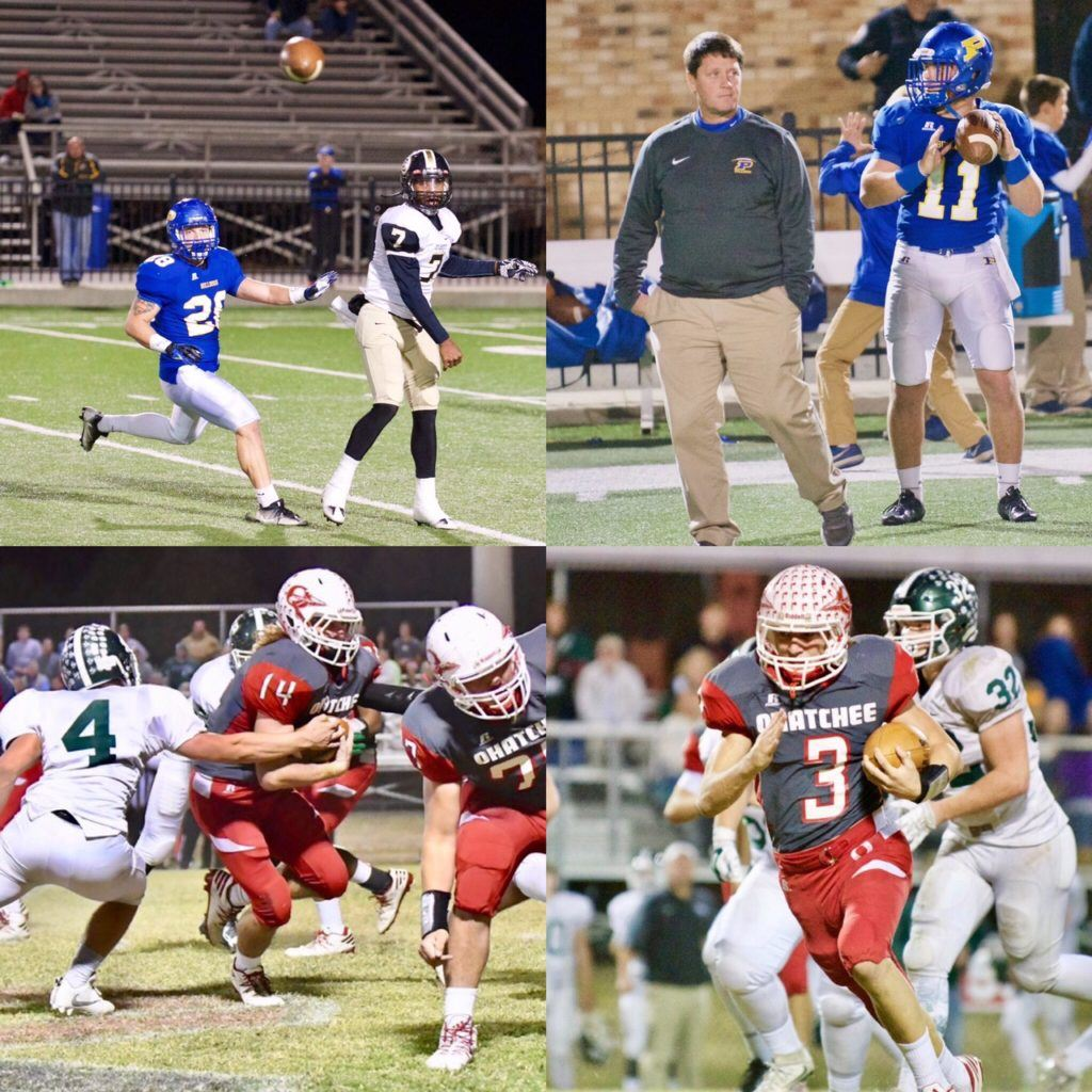 Here are the major award winners from Class 3A Region 5 (clockwise from left): Austin Brazier (28), Steve Smith and Taylor Hayes (11), Austin Tucker (3) and Taylor Eubanks (14). (Photos by B.J. Franklin/GungHo Photos)